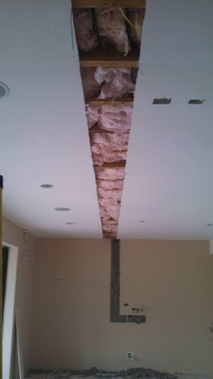 Cut-open ceiling to accommodate new wiring
