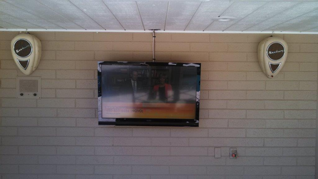 Patio TV With Vintage Speakers